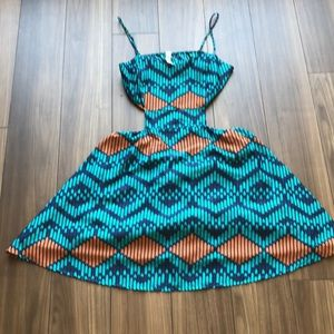 Audrey 3+1 Coral and turquoise dress